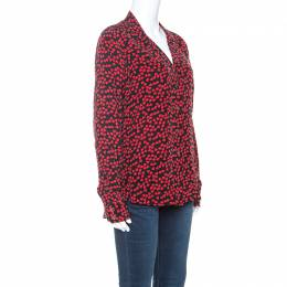 Equipment Black and Red Heart Printed Silk Shirt M 241353