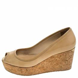 Jimmy Choo Beige Patent Leather Cork Wedge Papina Pumps Size 36