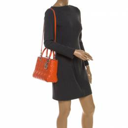 Dior Orange Cannage Quilted Leather Medium Lady Dior Tote 237703