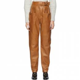 Isabel Marant Brown Leather Ferris Trousers PA1440-19H002I
