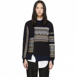 3.1 Phillip Lim Navy Merino Series Patchwork Holiday Sweater H191-7176MFW