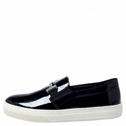 Tod's Black Patent Leather Sportivo Maxi Crystal Double T Slip On Sneakers Size 40 Tod's 302988