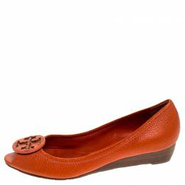 Tory Burch	 Orange Leather Logo Pumps Size 38