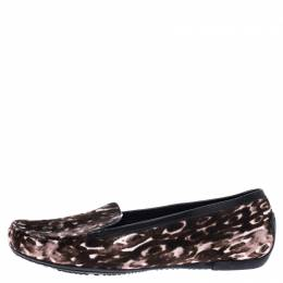 Stuart Weitzman Brown/White Leopard Print Calfhair Loafers Size 39