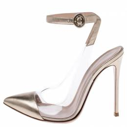 Gianvito Rossi Gold Leather And PVC Anise Pointed Toe Ankle Strap Pumps Size 37.5