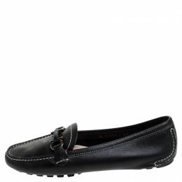 Salvatore Ferragamo	 Black Leather Gancio Bit Loafers Size 37
