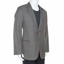 Armani Collezioni	 Grey Houndstooth Wool and Linen Blend Blazer XXL 242178