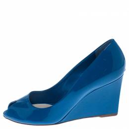 Christian Dior Blue Patent Leather Peep Toe Wedge Pumps Size 38 238057