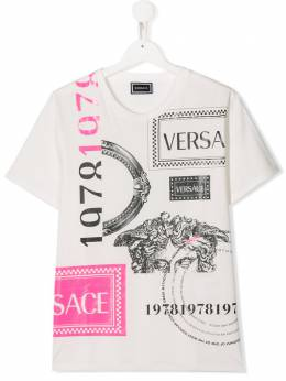 Young Versace Teen Girls Logo Mix Print White T-Shirt YC000143YA00079