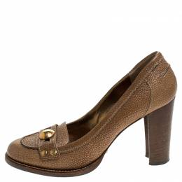 Dolce and Gabbana Brown Leather Embellished Loafer Pumps Size 38