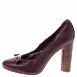 Marc Jacobs Dark Burgundy Bow Leather Wooden Heel Pumps Size 38.5 242183