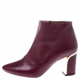 Chloe	 Burgundy Leather Zipped Pointed Toe Ankle Boots Size 41 242084