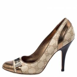 Gucci Beige GG Canvas And Metallic Gold Leather Bow Pumps Size 37.5