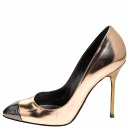 Sergio Rossi Metallic Rose Gold Patent Leather Cap Toe Pumps Size 36 243310