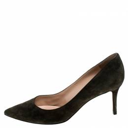 Gianvito Rossi Grey Suede Pointed Toe Pumps Size 41 243770