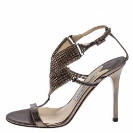 Jimmy Choo Metallic Bronze Leather Crystal Embellished Ankle Strap Sandals Size 36.5 241544