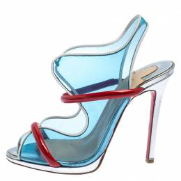 Christian Louboutin Blue/Red PVC And Patent Leather Aqua Ronda Sandals Size 38.5 242524