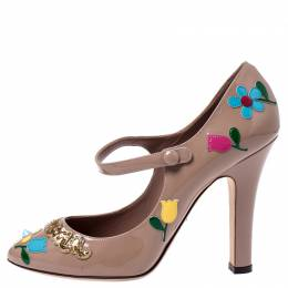 Dolce and Gabbana Beige Patent Leather Mary Jane Pumps Size 40