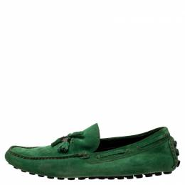 Louis Vuitton Green Suede Imola Tassel Loafers Size 44 243210