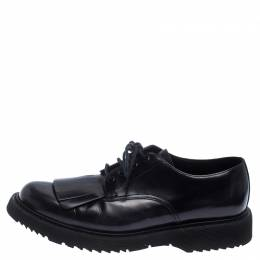 Prada Black Patent Leather Fringe Oxford Size 42.5 237238