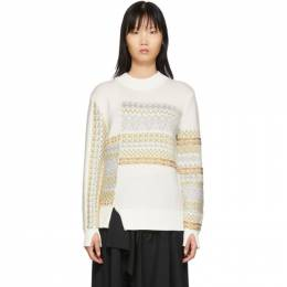3.1 Phillip Lim White Merino Series Patchwork Holiday Sweater H191-7176MFW