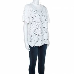 Lanvin White Guipure Lace Short Sleeve Top L 243613