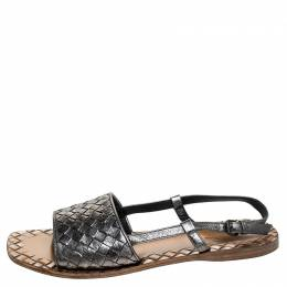 Bottega Veneta Metallic Intreciatto Leather Calvados Slingback Sandals Size 38 241727