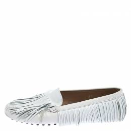 Tod's White Leather Yorky Gommino Fringe Loafers Size 37 Tod's