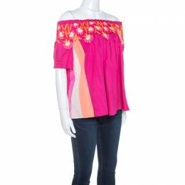 Peter Pilotto Pink Cotton Lace Detail Panelled Off-Shoulder Top S 243330