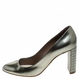 Dior Metallic Grey Patent Leather Cannage Heel Pumps Size 39