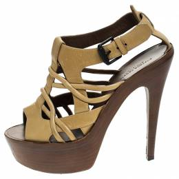 Bottega Veneta Beige Leather Cutout Platform Ankle Strap Sandals Size 37.5 243372