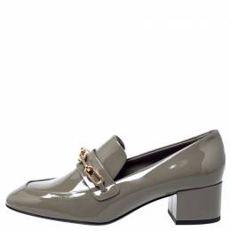 Burberry	 Taupe Patent Leather Chillcot Loafer Pumps Size 39.5