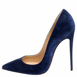 Christian Louboutin Blue Suede So Kate Pointed Toe Pumps Size 40 244736