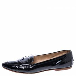 Tod's Black Patent Leather Pointed Toe Penny Loafer Size 40 Tod's