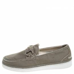 Dolce and Gabbana Grey Canvas Horsebit Loafers Size 40