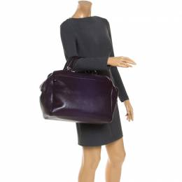 Bottega Veneta Purple Leather Madras Heritage Brera Duffle Bag 242893