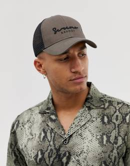 ASOS Design trucker cap in khaki with script embroidery-Зеленый 8259946