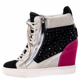 Giuseppe Zanotti Design Multicolor Crystal Embellished Suede Wedge Sneakers Size 36 245069