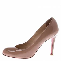 Christian Louboutin Nude Beige Patent Leather Simple Pumps Size 37.5