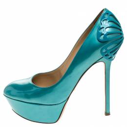 Sergio Rossi Blue Patent Leather Butterfly Plaque Platform Pumps Size 36.5