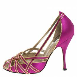 Dolce and Gabbana Pink And Gold Satin Strappy Pumps Size 38
