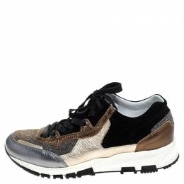 Lanvin Multicolor Suede Leather And Glitter Fabric Low Top Lace Up Sneakers Size 38 245696