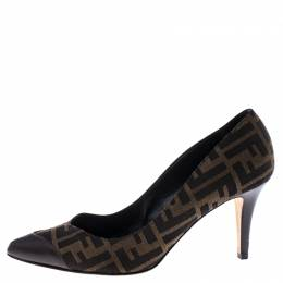 Fendi Brown/Tobacco Zucca Canvas and Leather Pointed Toe Pumps Size 41