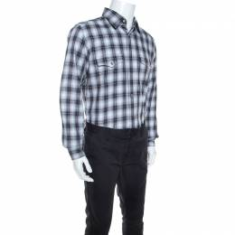 Tom Ford Grey Plaid Cotton Press Button Shirt XL 244350