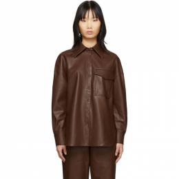 Tibi Brown Faux-Leather Utility Blouse 201095F10902202GB