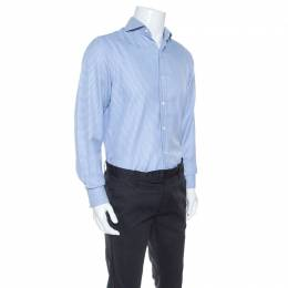 Tom Ford Blue Textured Houndstooth Checked Cotton Button Front Shirt M