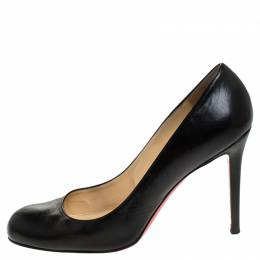 Christian Louboutin Black Leather Simple Round Toe Pumps Size 41 246877