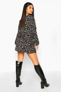 Petite Ditsy Floral Woven Smock Dress Boohoo PZZ67997-105-14