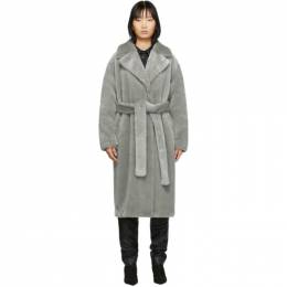 Tibi Grey Faux-Fur Oversized Luxe Coat 201095F05900805GB