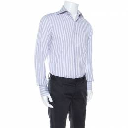 Tom Ford Lilac and White Checked Cotton Front Button Shirt M